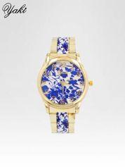 Złoty zegarek damski na bransolecie z niebieskim motywem kwiatowym
