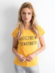 Żółta damska koszulka z napisem