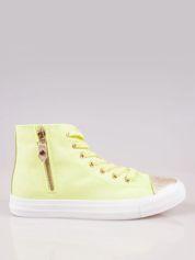Żółte sneakersy gold cap toe Cody z suwakiem z boku