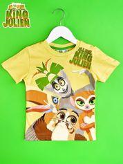 Żółty t-shirt chłopięcy z nadrukiem KRÓL JULIAN