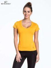 Żółty t-shirt sportowy termoaktywny z dekoltem V