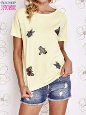 Żółty t-shirt z aplikacją owadów