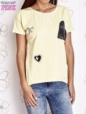 Żółty t-shirt z motywem serca i kokardki