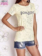 Żółty t-shirt z napisem BONJOUR