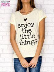 Żółty t-shirt z napisem ENJOY THE LITTLE THINGS