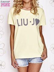 Żółty t-shirt z napisem LIU J❤