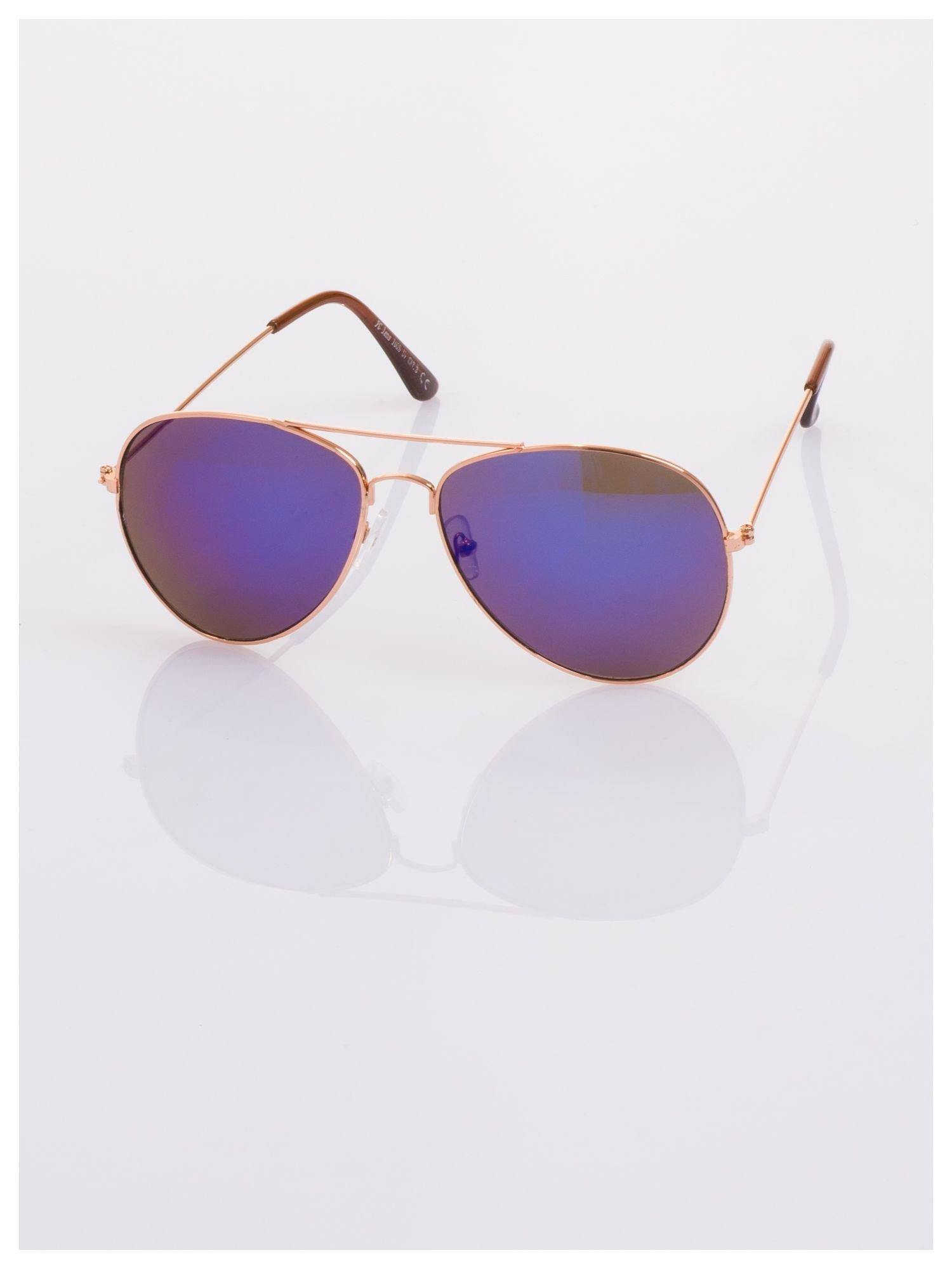 AVIATORY złote okulary pilotki lustrzanki niebiesko-fioletowe                                   zdj.                                  2