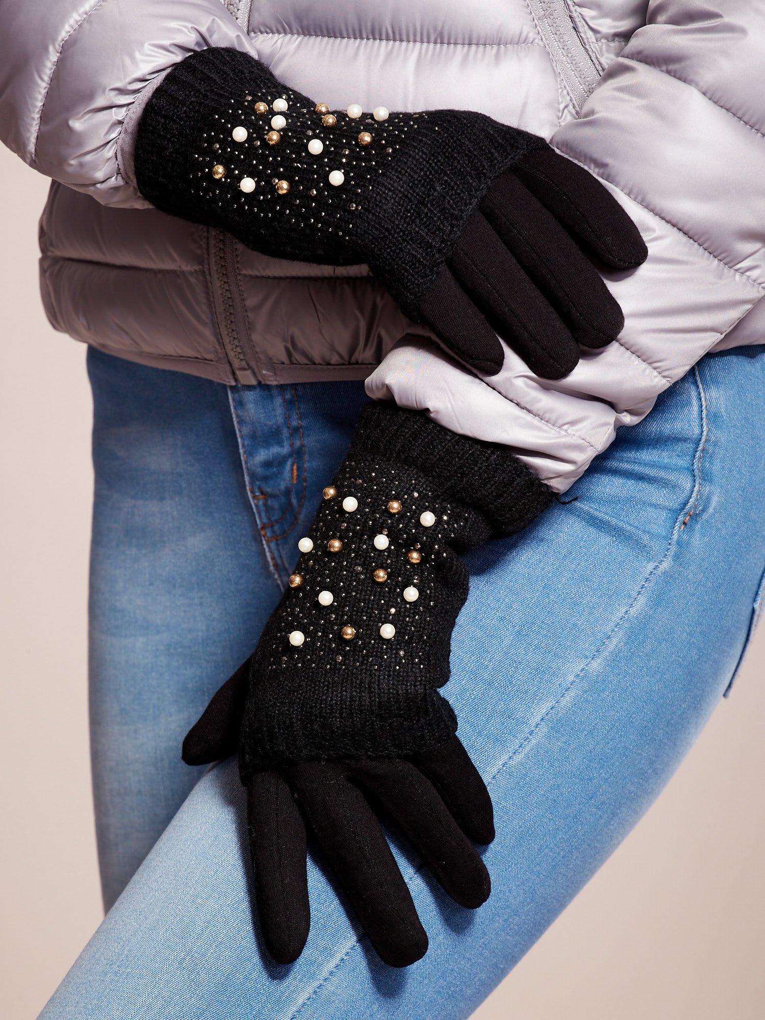 5bf292a8a5eef DOTYKOWE Czarne Damskie Rękawiczki MITENKI - Akcesoria rękawiczki ...