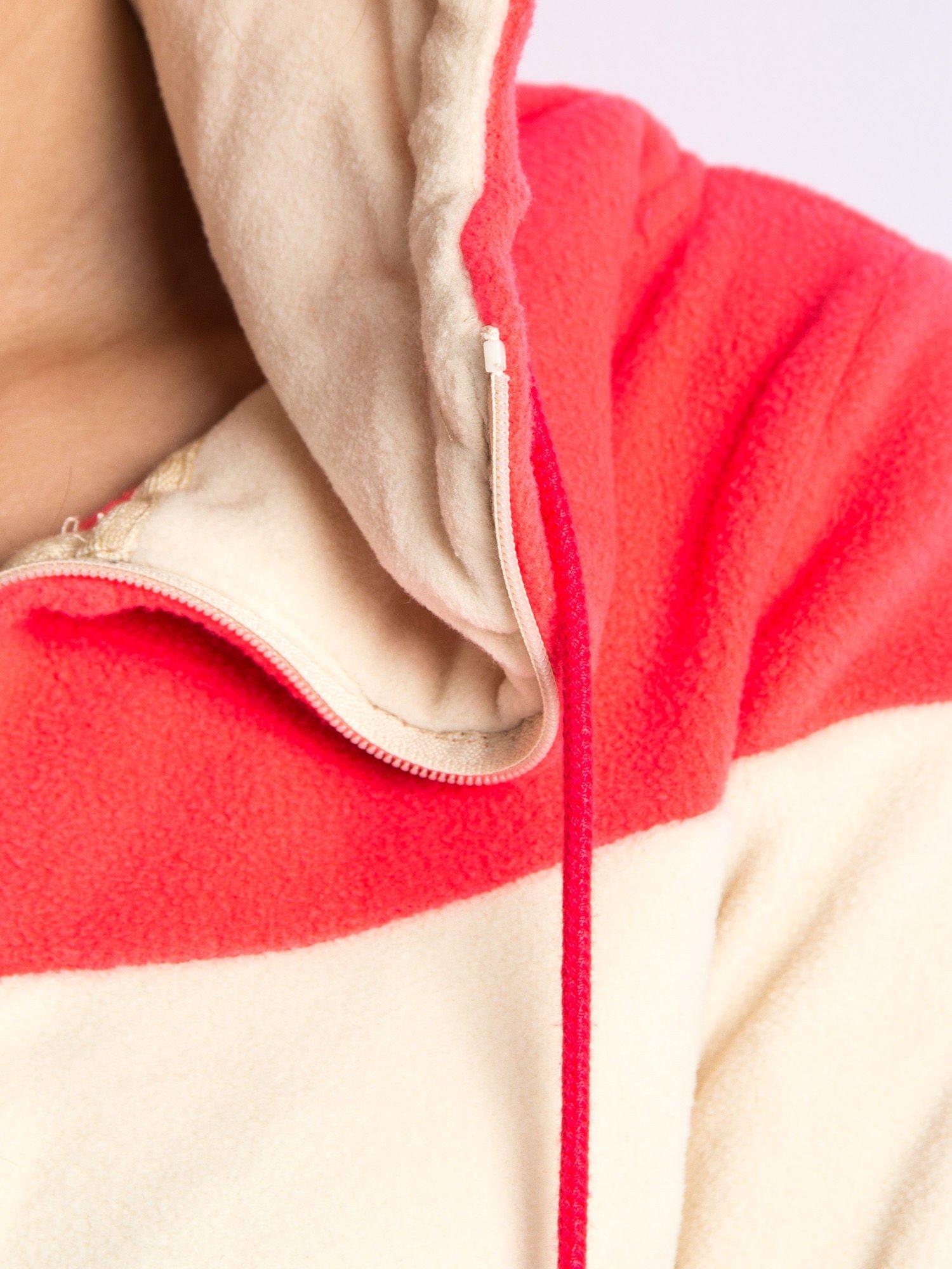 Beżowa bluza polarowa z kapturem z uszkami                                  zdj.                                  6