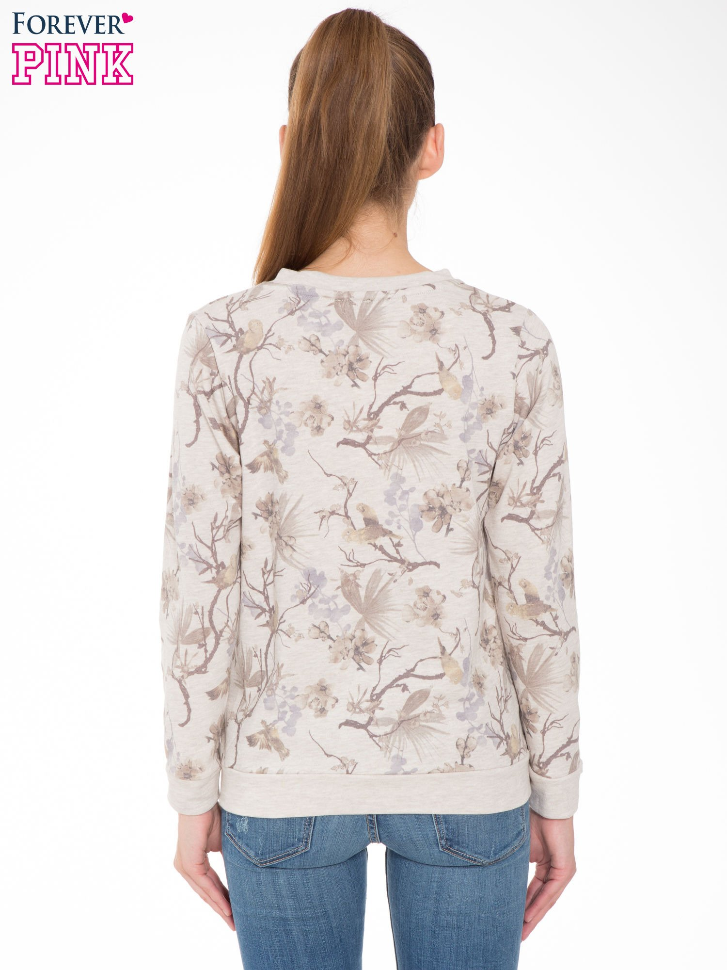 Beżowa bluza z nadrukiem all over floral print                                  zdj.                                  4