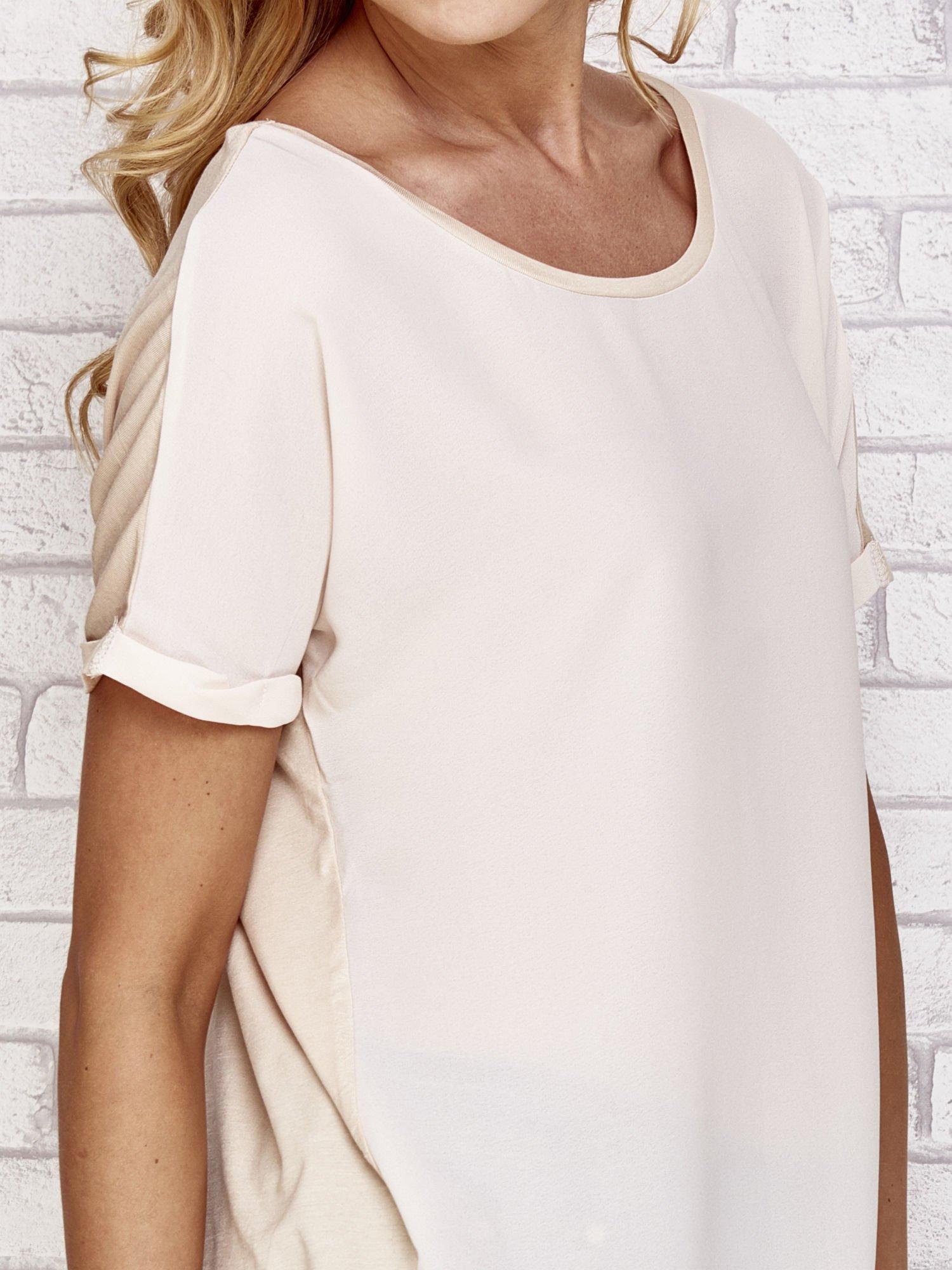 Beżowa bluzka koszulowa z koronką z tyłu                                  zdj.                                  5