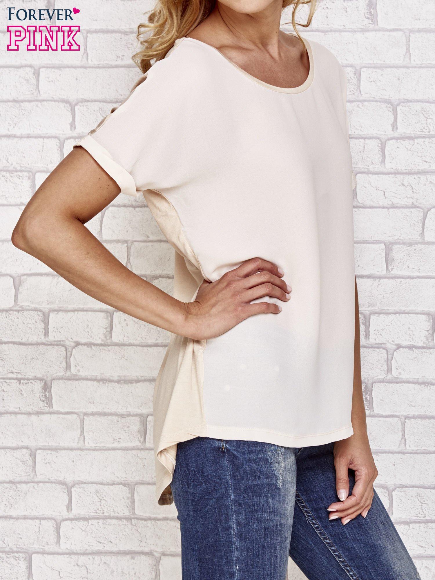 Beżowa bluzka koszulowa z koronką z tyłu                                  zdj.                                  3