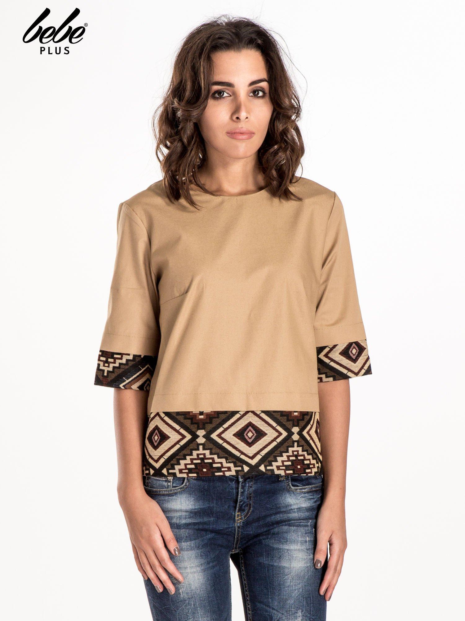 Beżowa bluzka z motywem azteckim                                  zdj.                                  1