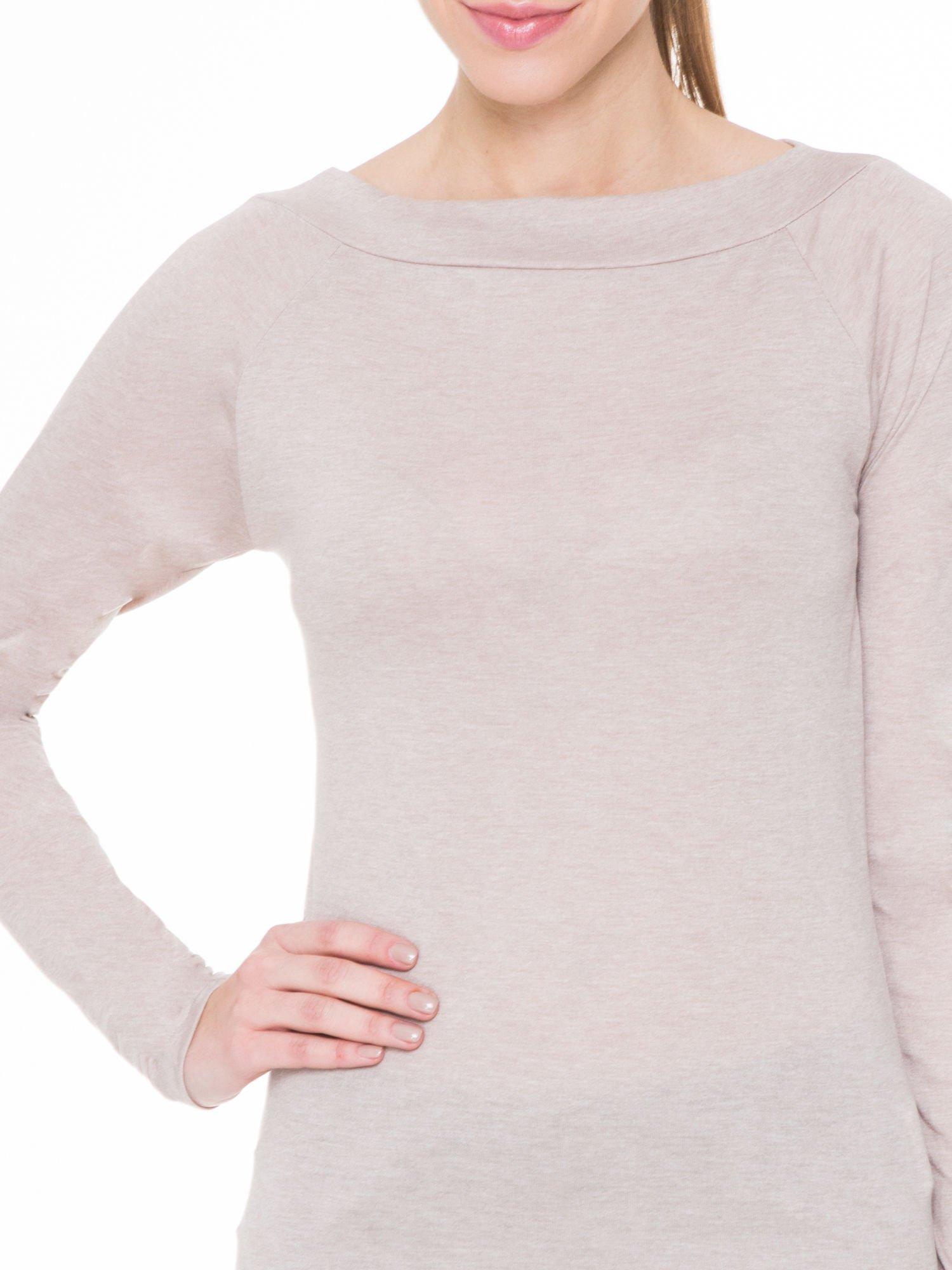 Beżowa gładka bluzka z reglanowymi rękawami                                  zdj.                                  5