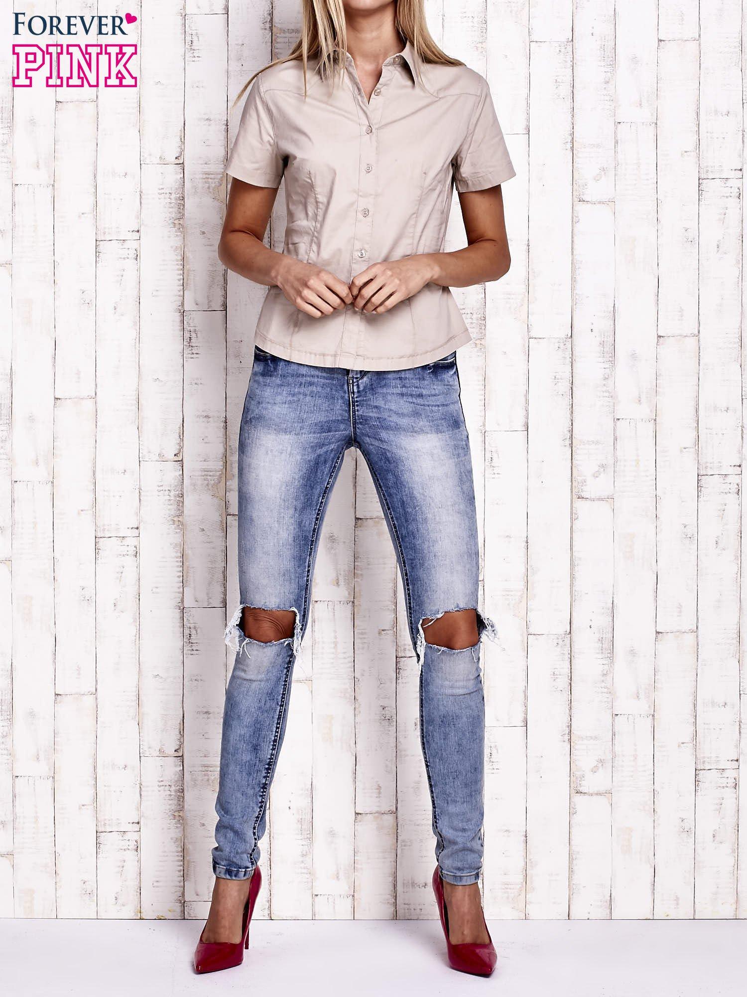 Beżowa koszula z krótkim rękawem                                  zdj.                                  2