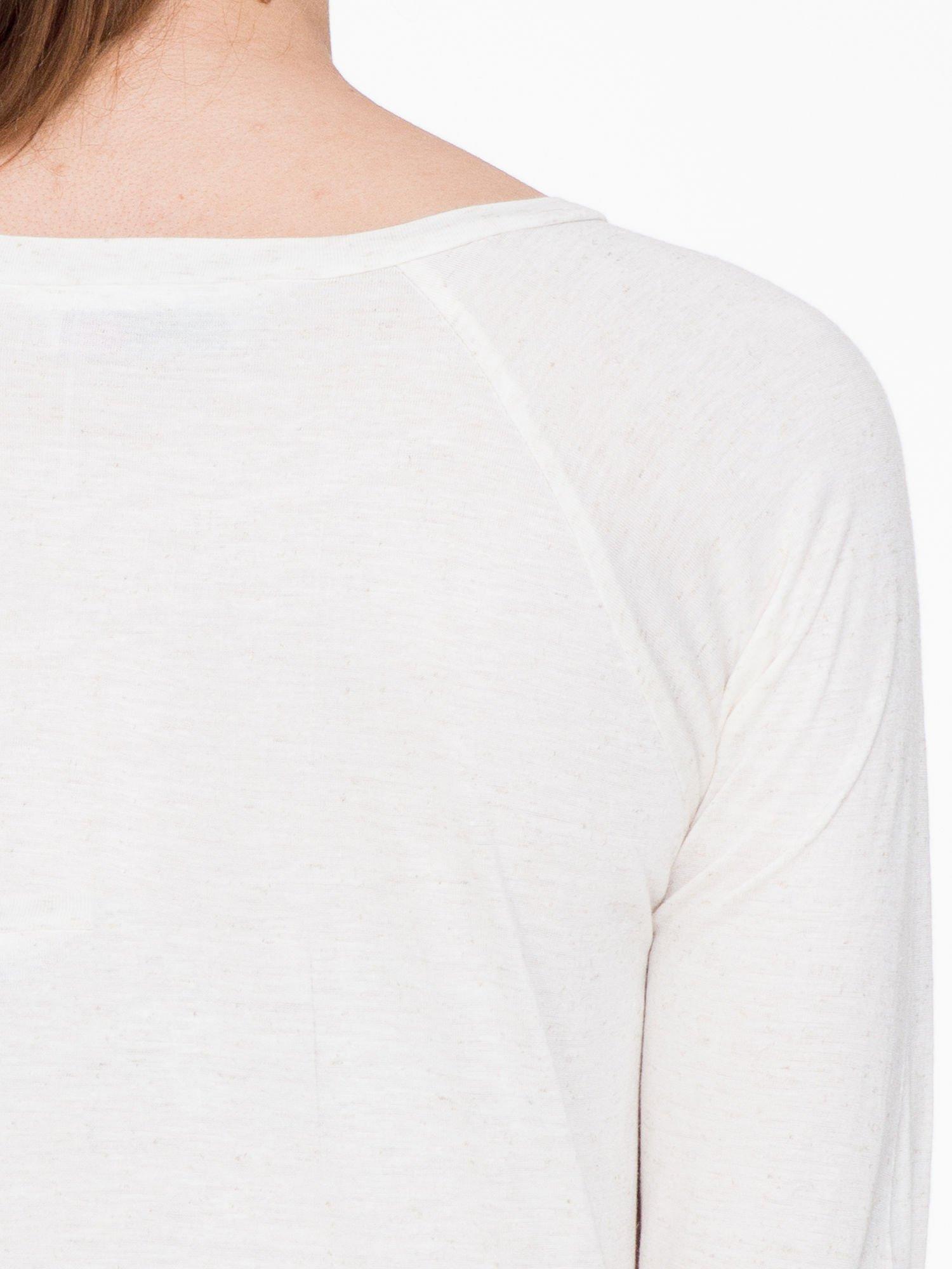 Beżowa melanżowa bawełniana bluzka z rękawami typu reglan                                  zdj.                                  7