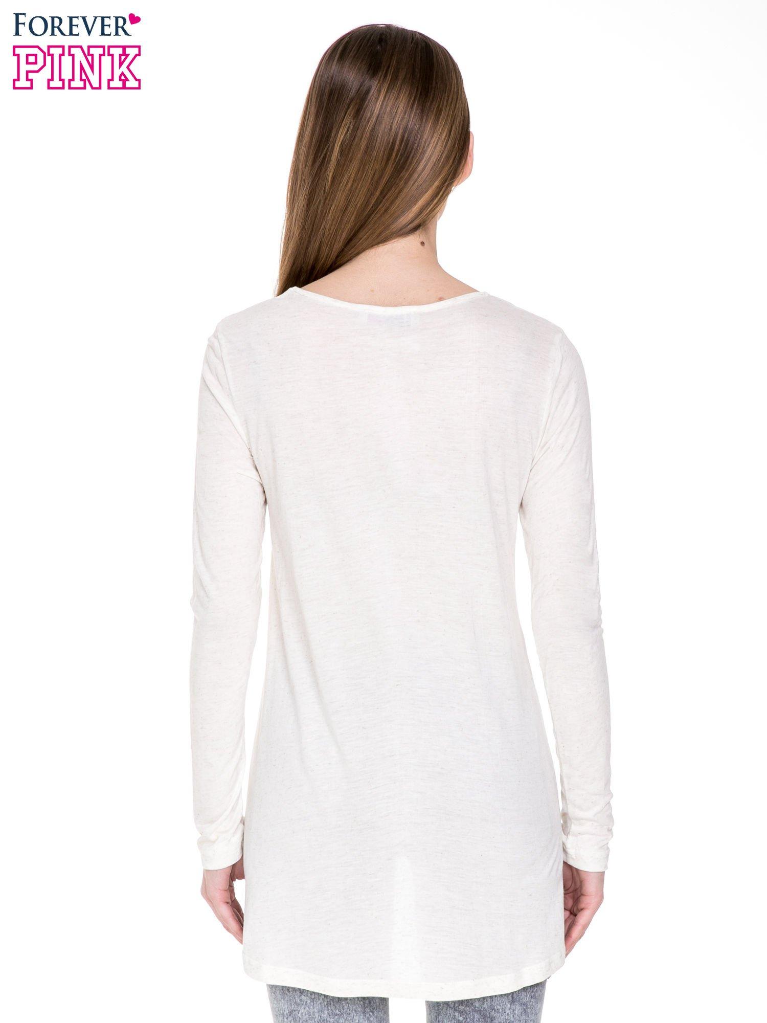 Beżowa melanżowa bluzka z dłuższym tyłem                                  zdj.                                  4