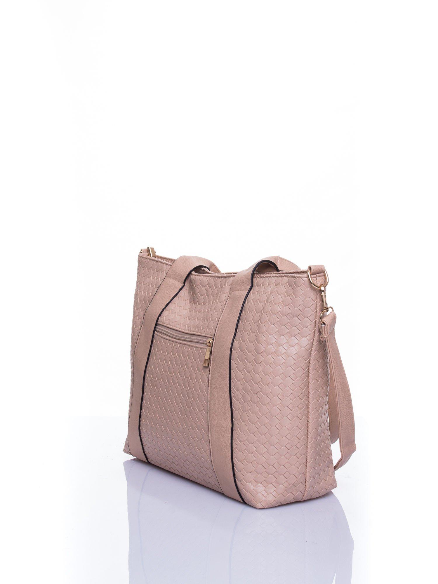 Beżowa pleciona torebka z suwakami                                  zdj.                                  4