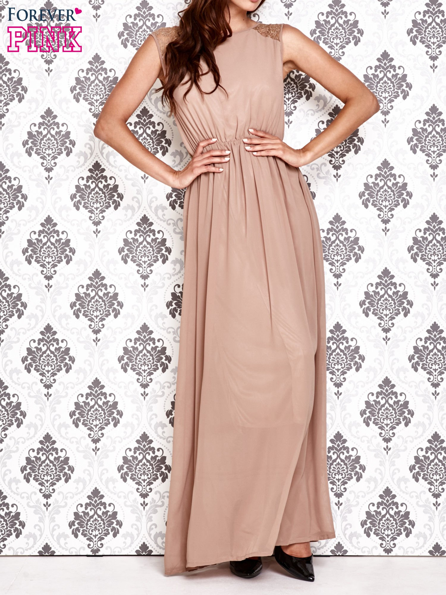 Beżowa sukienka maxi z koronkowym tyłem                                  zdj.                                  1