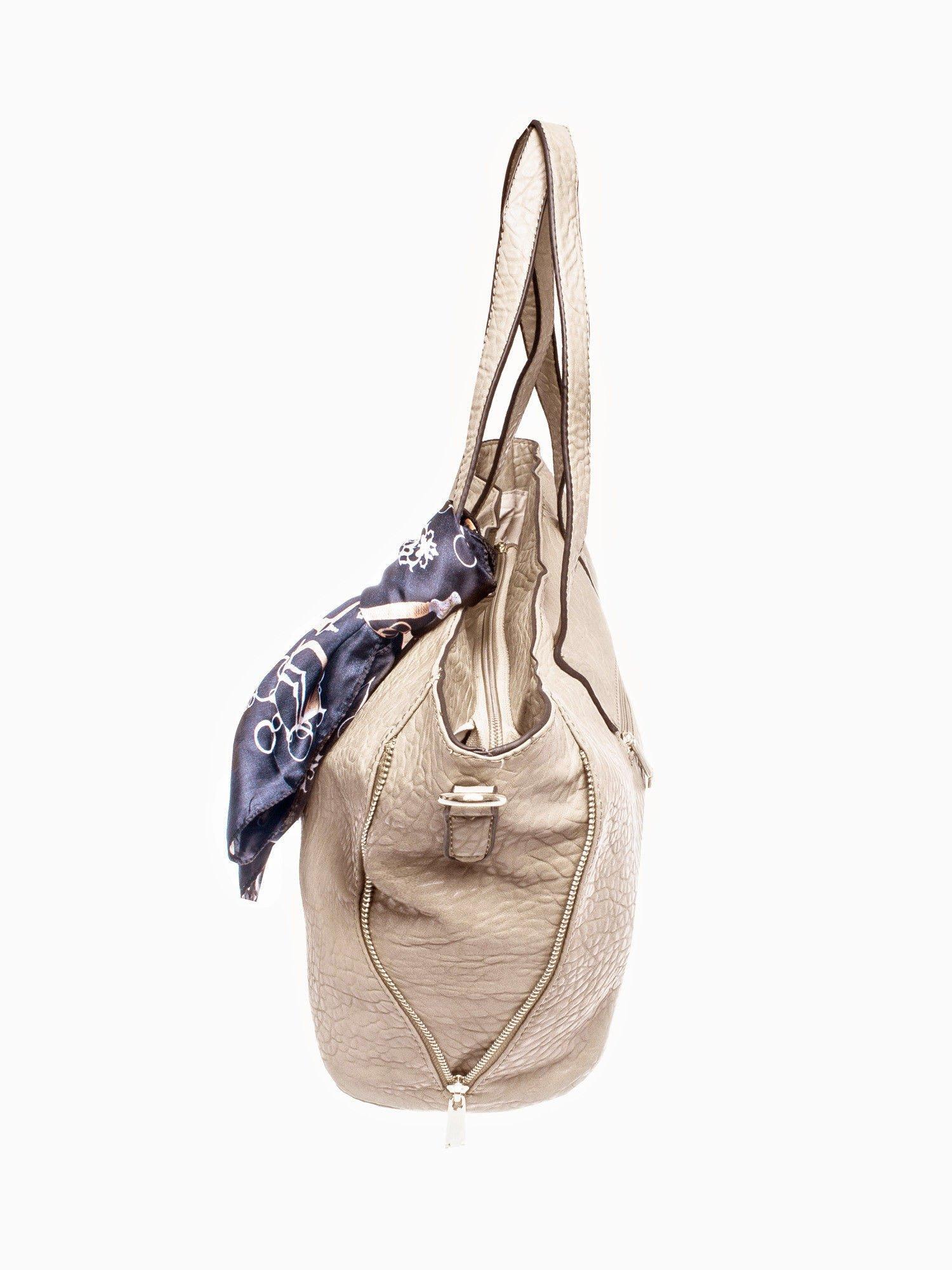 Beżowa torebka shopper bag z apaszką                                  zdj.                                  3