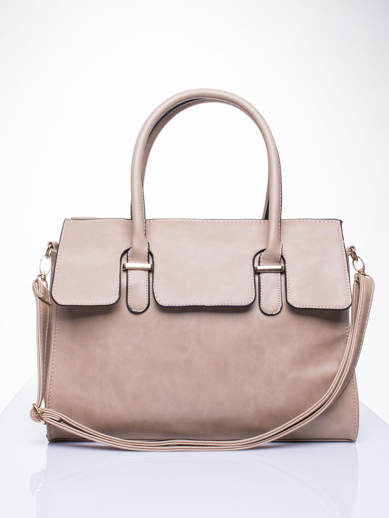 Beżowa torebka teczka z klapką                                  zdj.                                  1