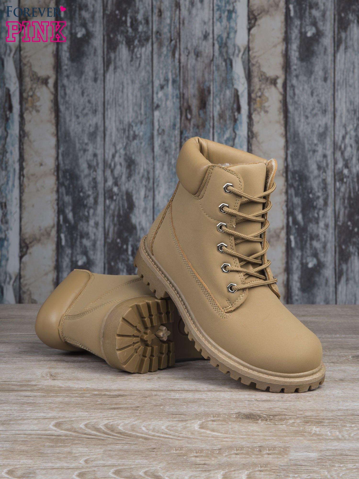 Beżowe buty trekkingowe damskie Amina traperki ocieplane                                  zdj.                                  4