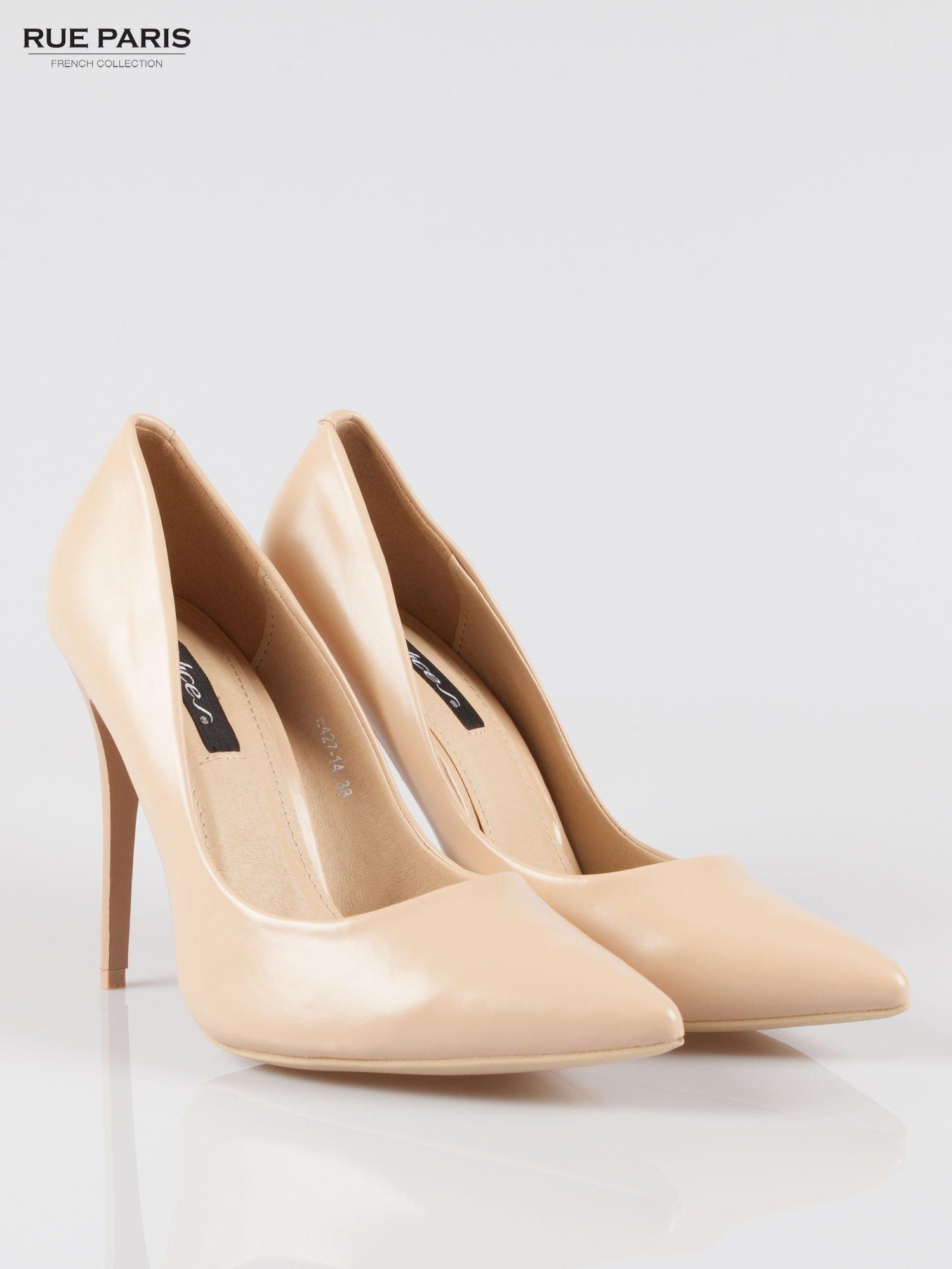 Beżowe szpilki high heels z noskiem w szpic                                  zdj.                                  2