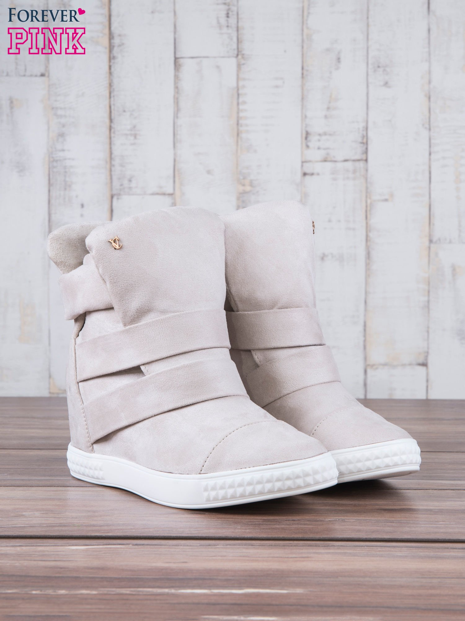 Beżowe zamszowe sneakersy bandage Quinn                                  zdj.                                  3