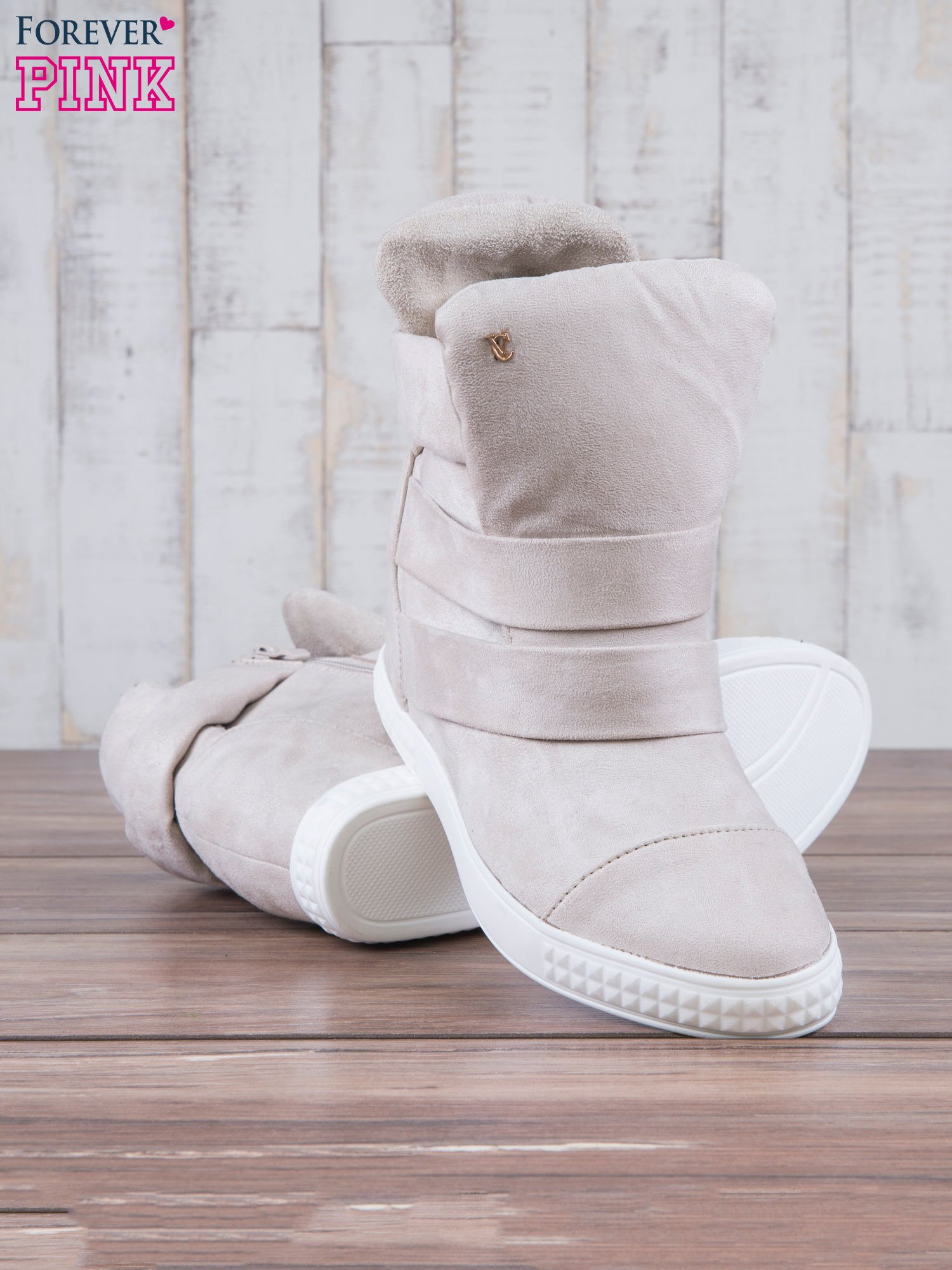 Beżowe zamszowe sneakersy bandage Quinn                                  zdj.                                  4