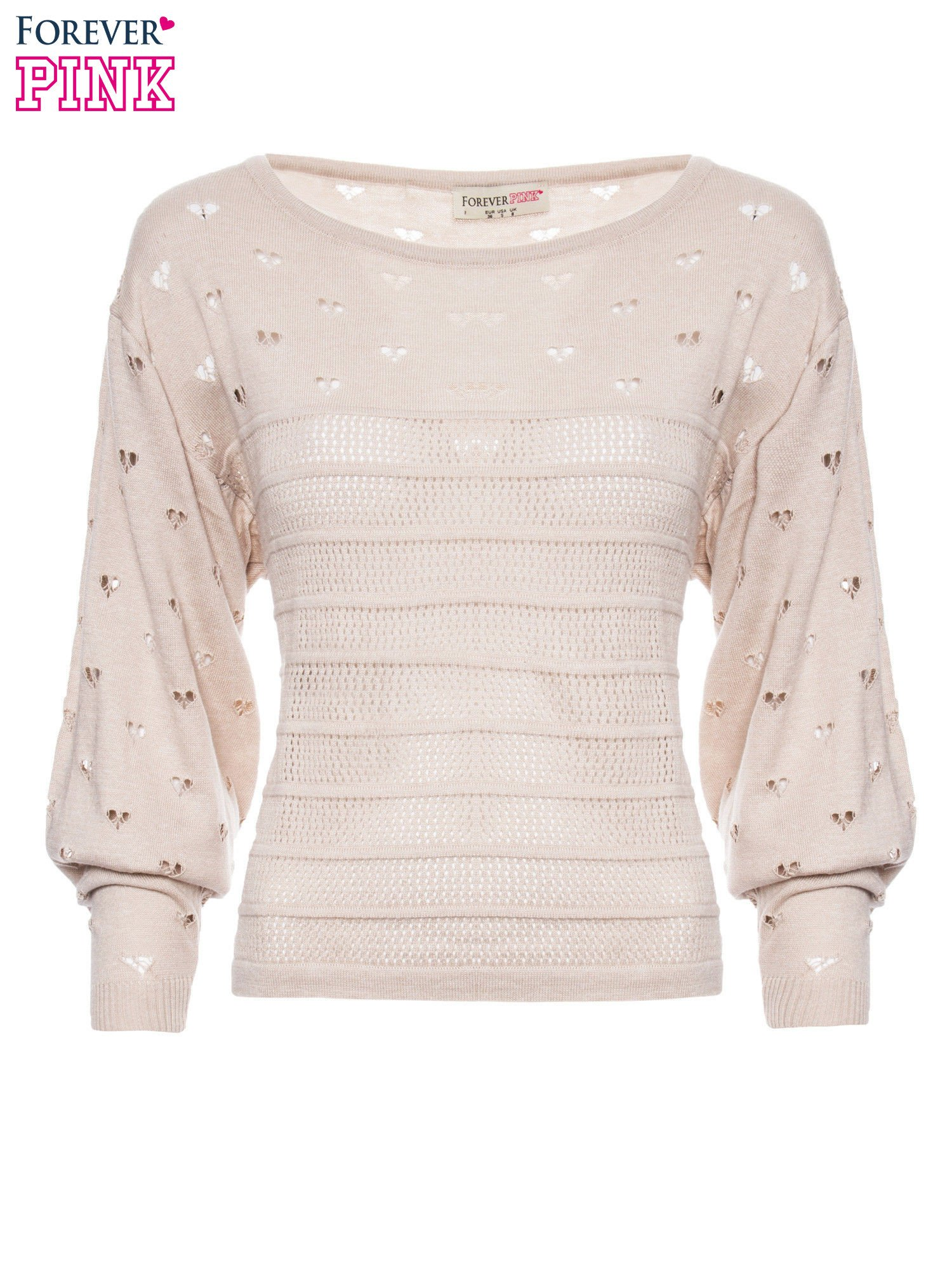Beżowy ażurowy sweter w serduszka                                  zdj.                                  2