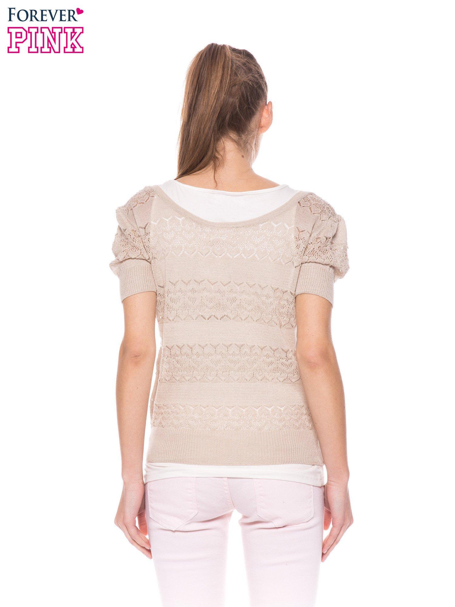 Beżowy ażurowy sweterek w stylu retro                                  zdj.                                  5