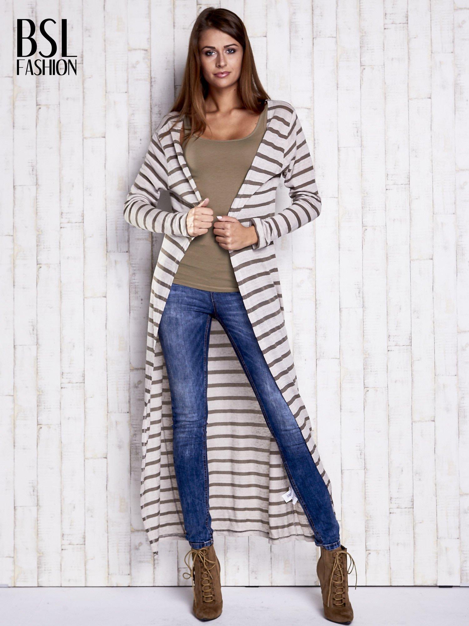 Beżowy długi sweter w paski                                  zdj.                                  4