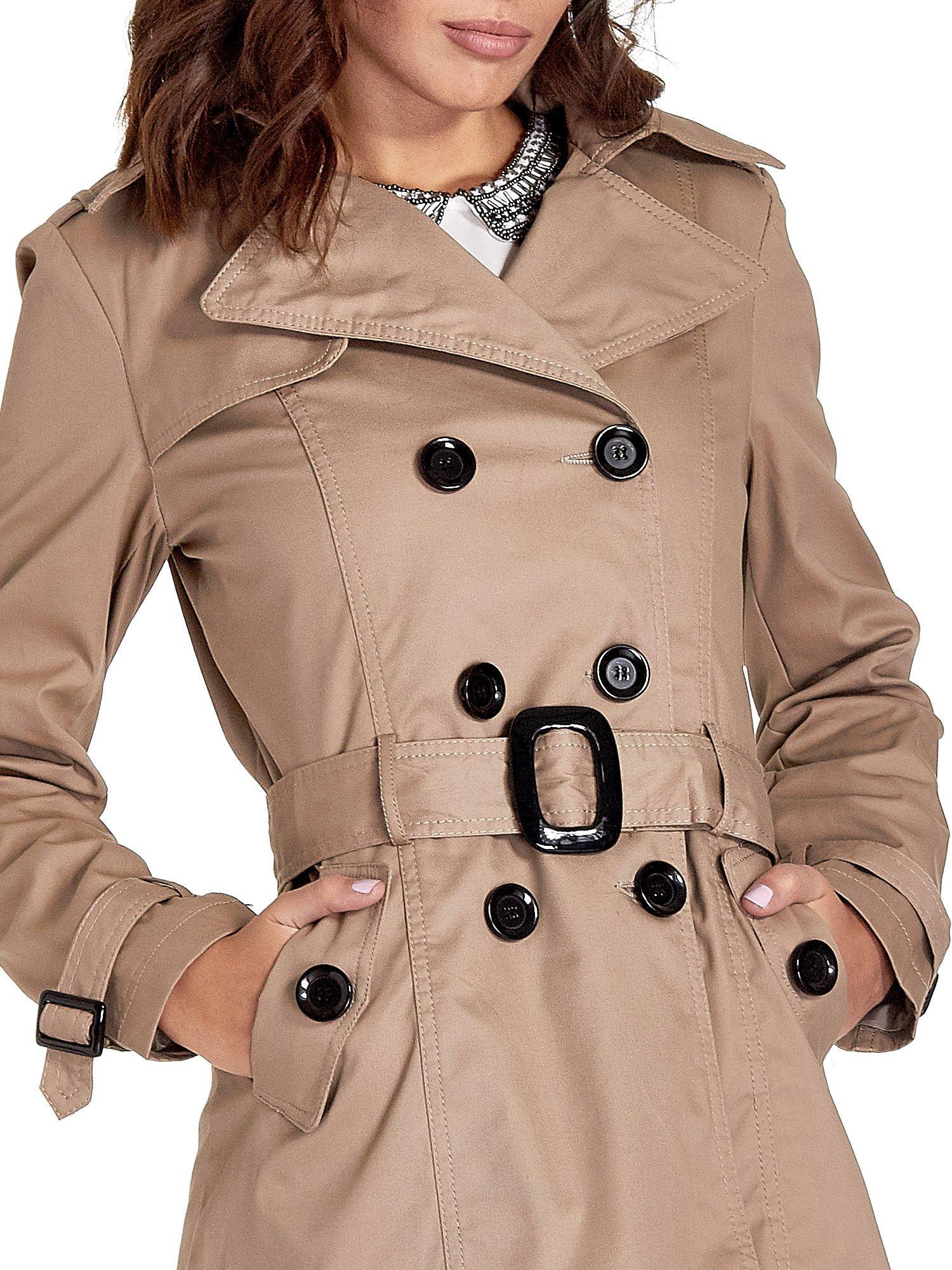 Beżowy klasyczny płaszcz typu trencz                                  zdj.                                  7