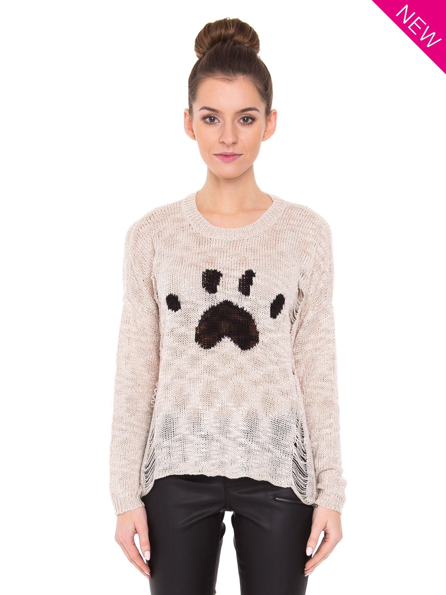Beżowy sweter ze zwierzęcym nadrukiem i efektem destroyed                                  zdj.                                  2