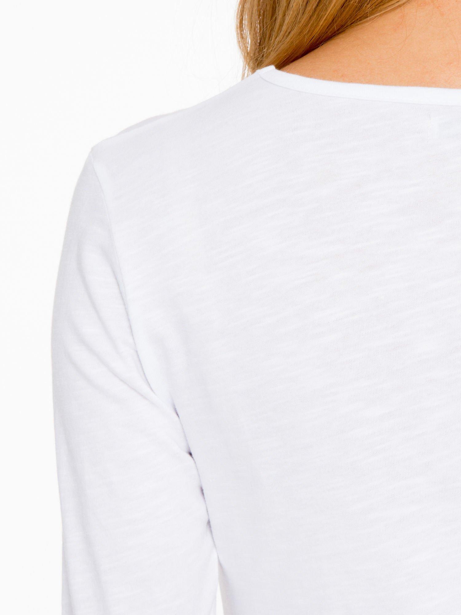 Biała basicowa bluzka z długim rękawem                                  zdj.                                  8