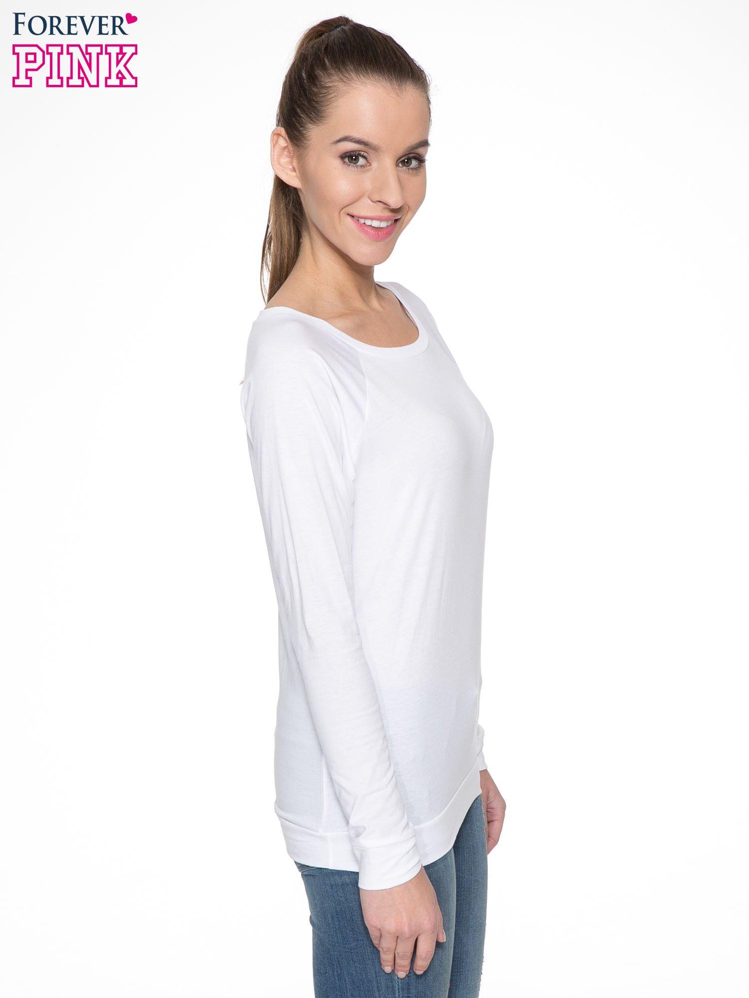 Biała bawełniana bluzka z rękawami typu reglan                                  zdj.                                  3