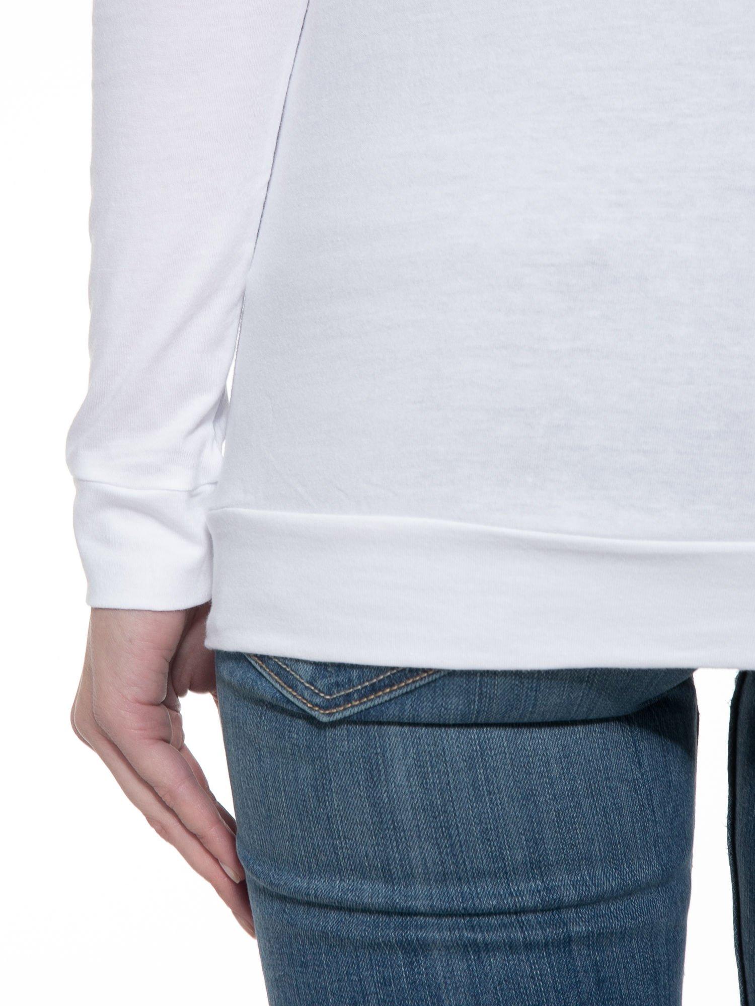 Biała bawełniana bluzka z rękawami typu reglan                                  zdj.                                  8