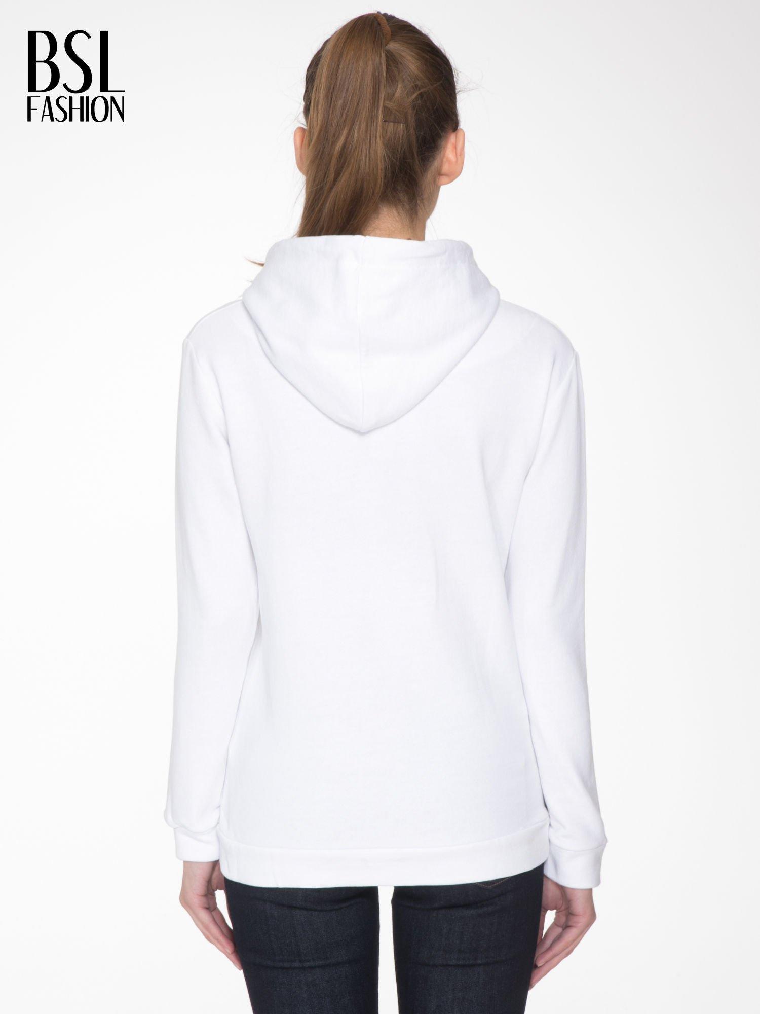 Biała  bluza kangur z kapturem i nadrukiem FÉLINE MEOW                                  zdj.                                  4