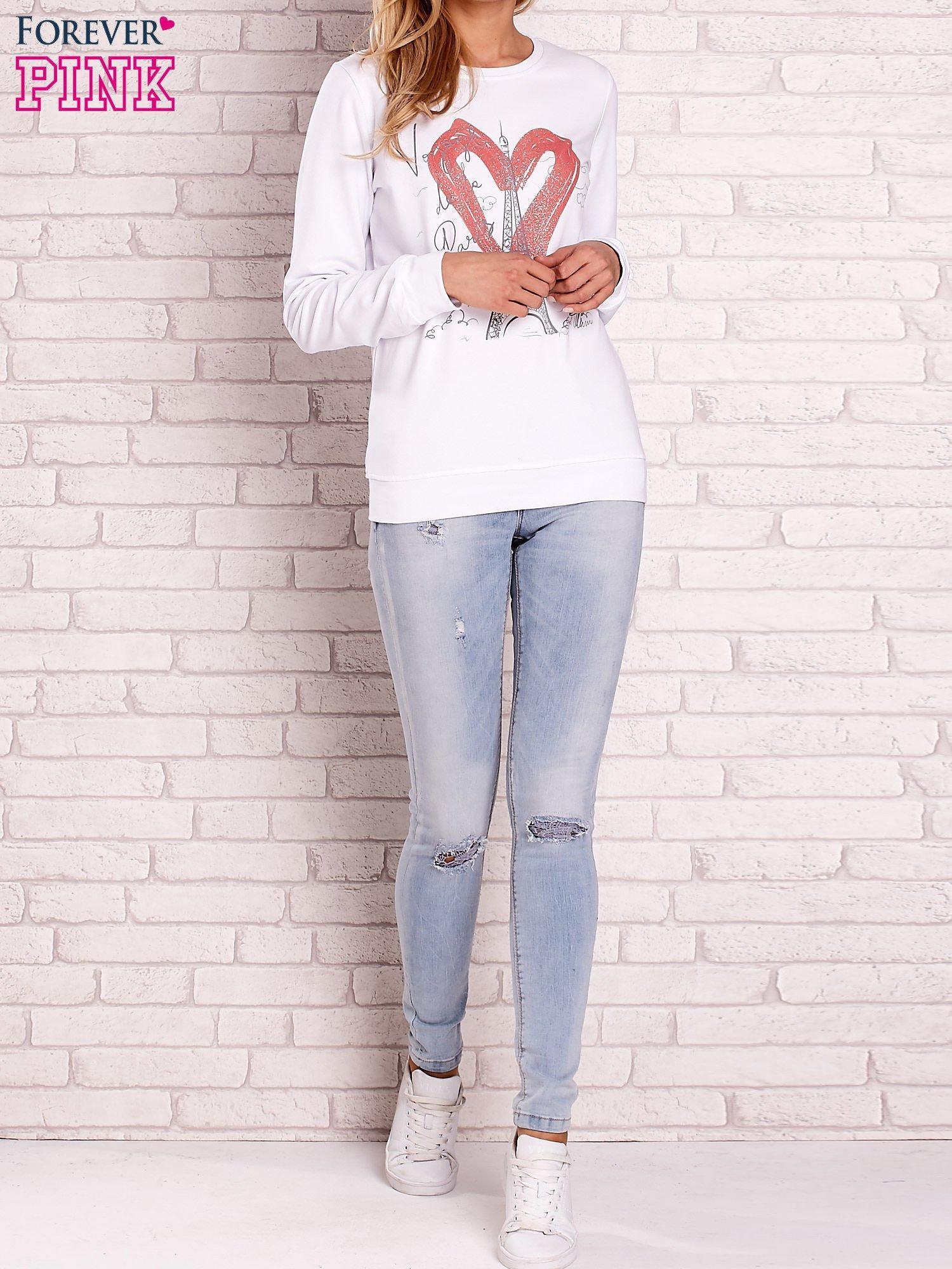 Biała bluza z motywem paryskim                                  zdj.                                  4
