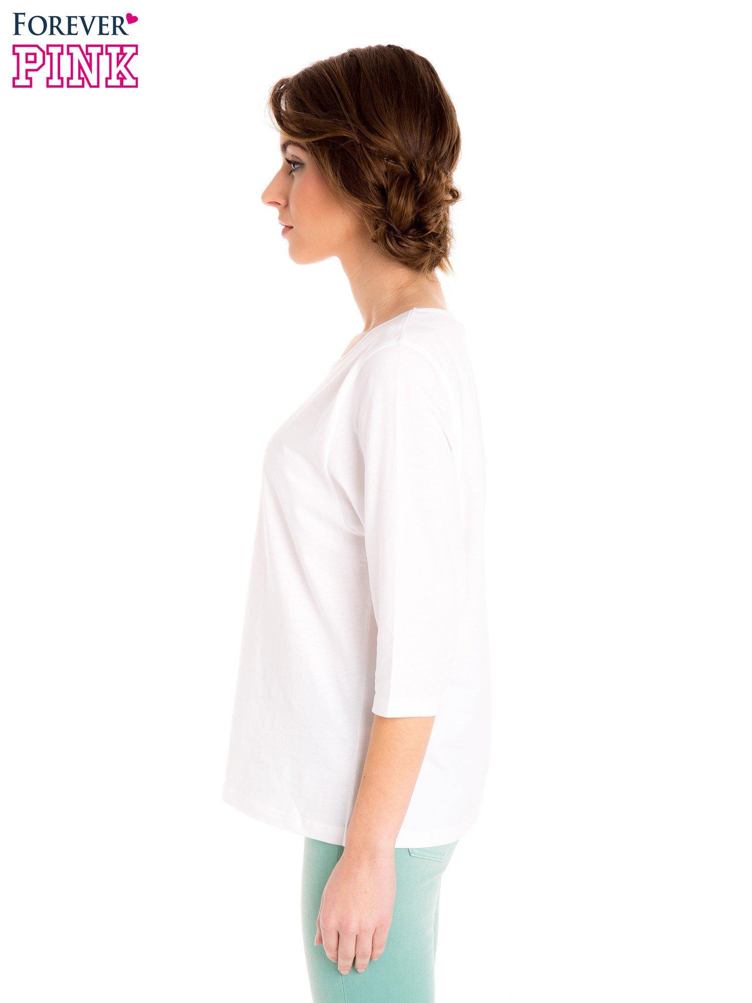 Biała bluzka basic z rękawem 3/4                                  zdj.                                  3