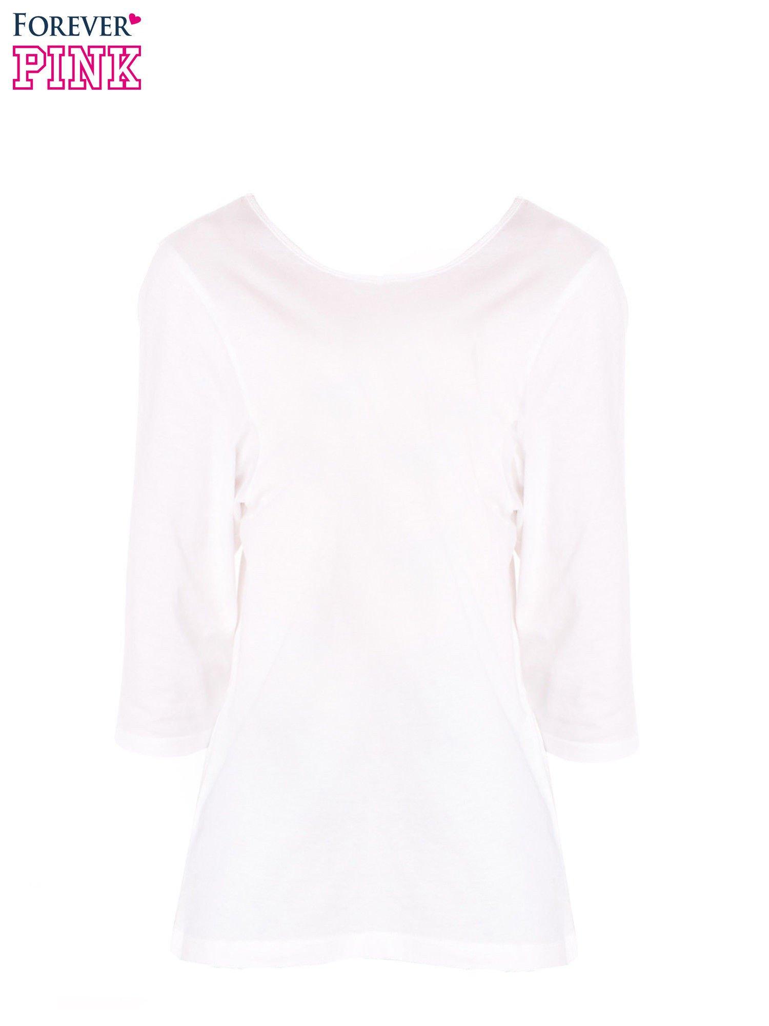 Biała bluzka basic z rękawem 3/4                                  zdj.                                  5