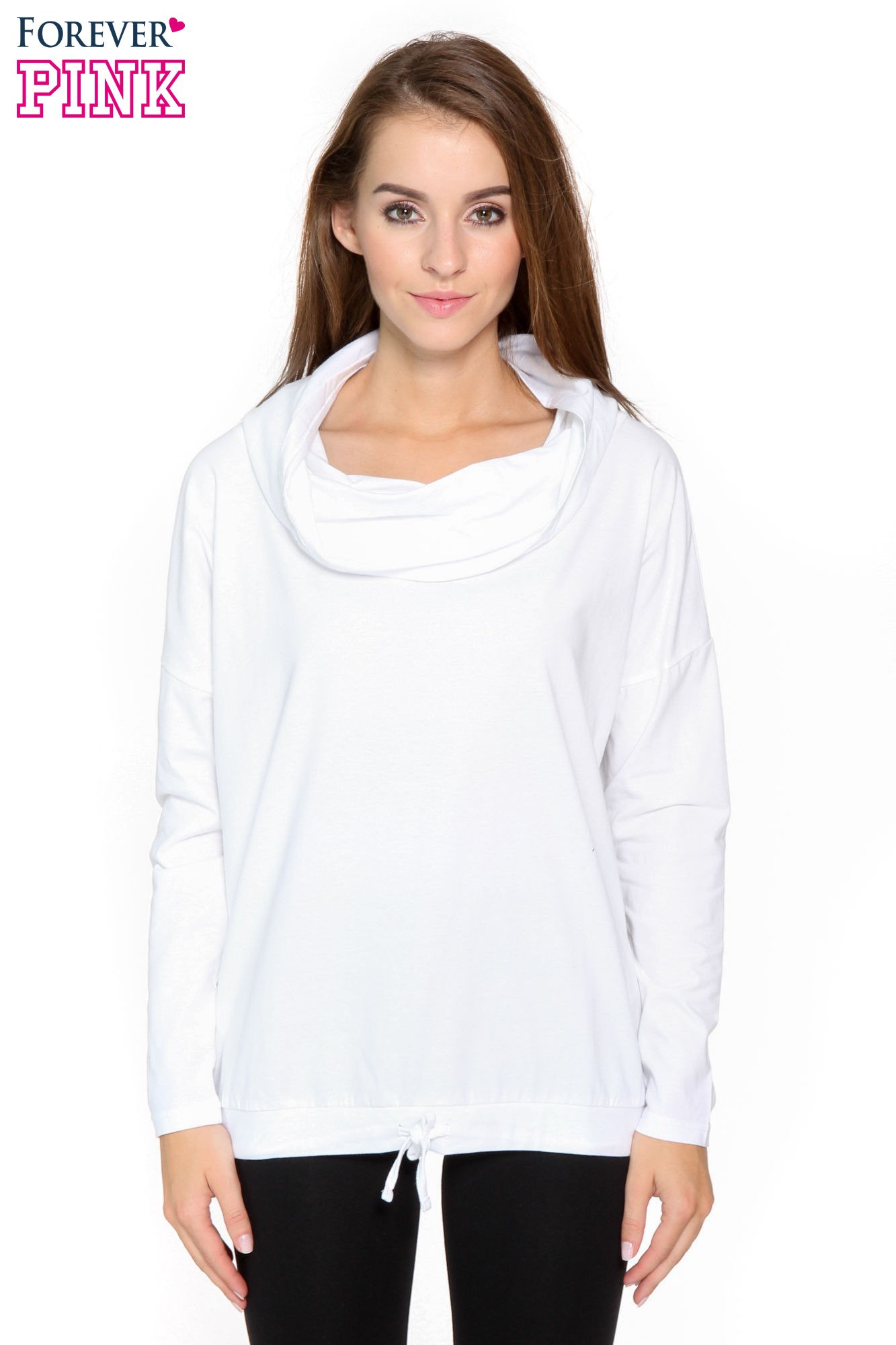 Biała bluzka dresowa z kołnierzokapturem i ściągaczem na dole                                  zdj.                                  1