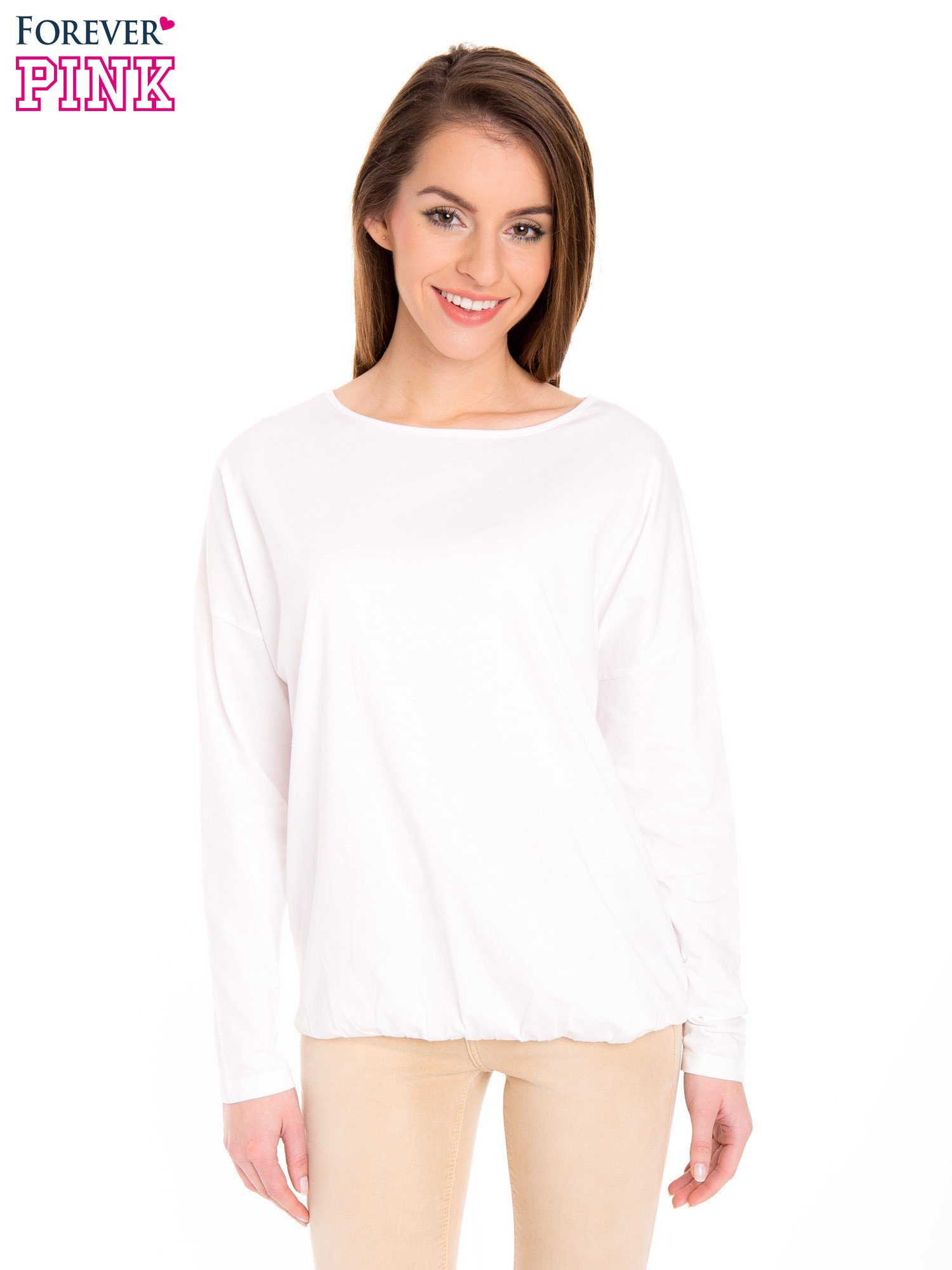 Biała bluzka z gumką u dołu                                  zdj.                                  1