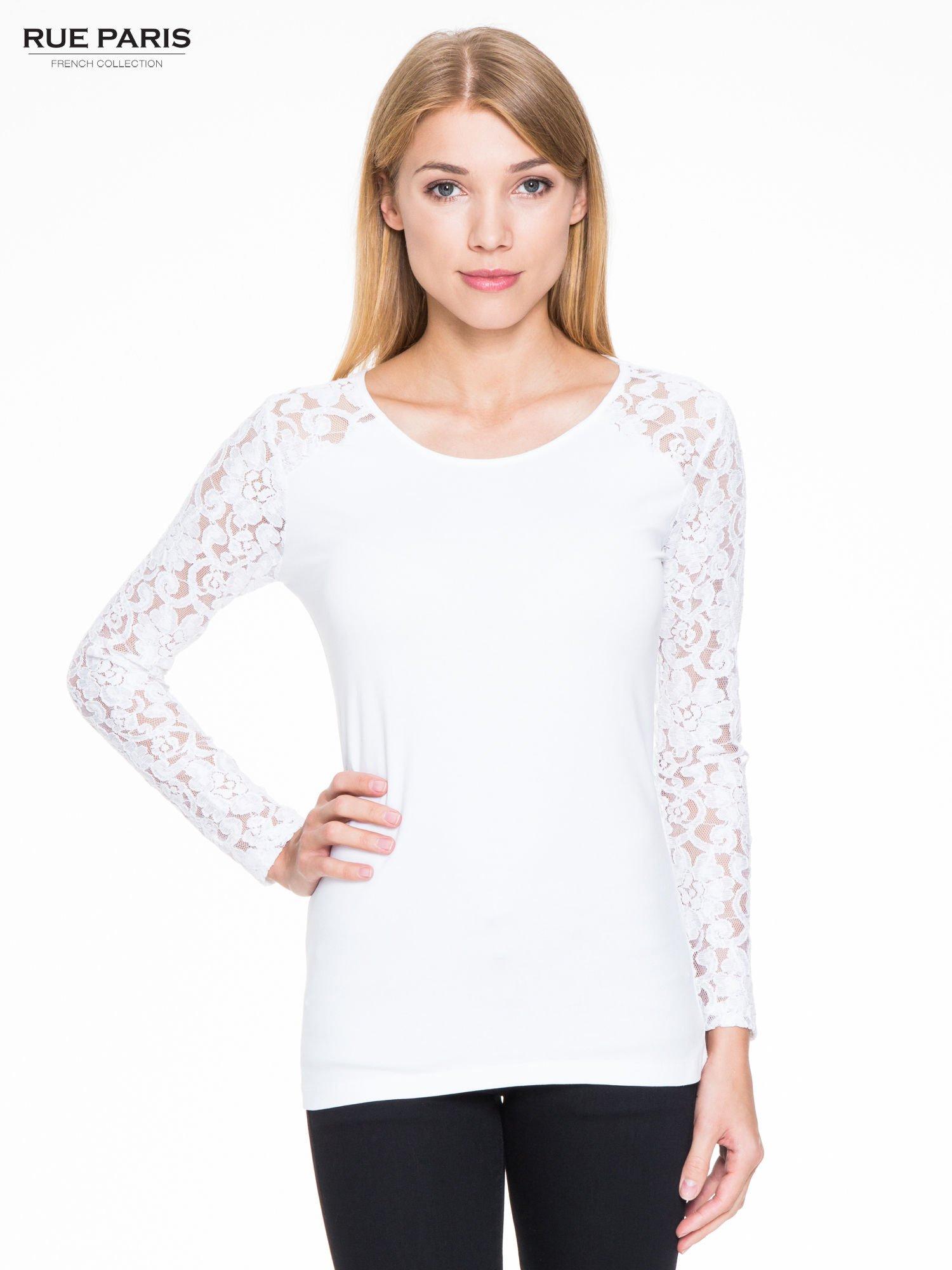 Biała bluzka z koronkowymi rękawami                                  zdj.                                  1