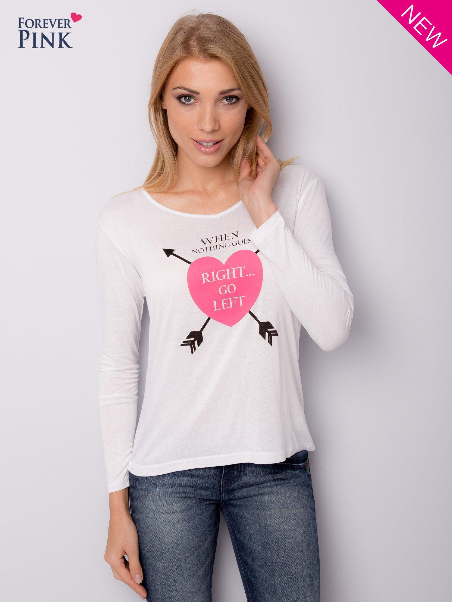 Biała bluzka z nadrukiem serca                                  zdj.                                  7