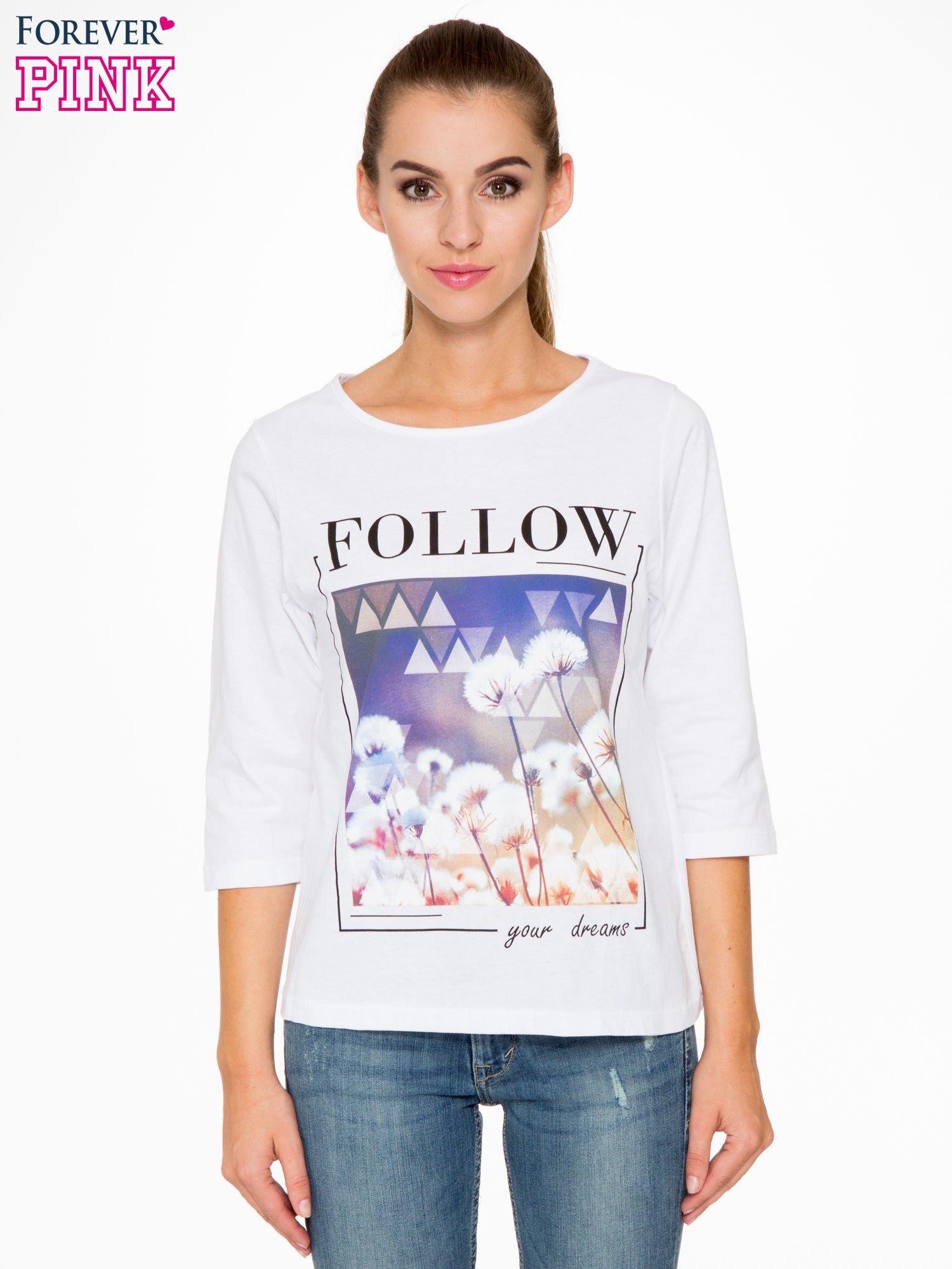 Biała bluzka z napisem FOLLOW YOUR DREAMS                                  zdj.                                  1