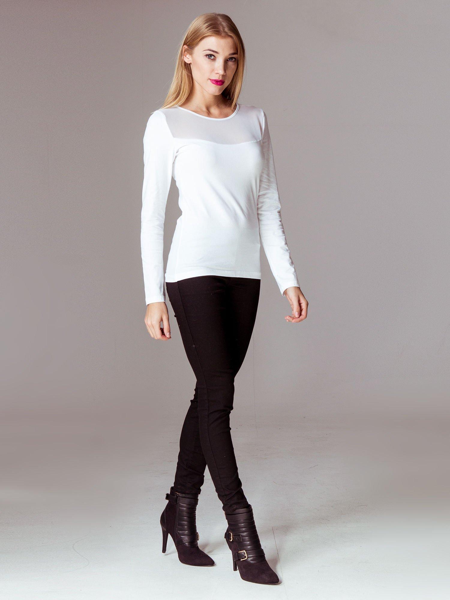 Biała bluzka z tiulowym karczkiem                                  zdj.                                  9