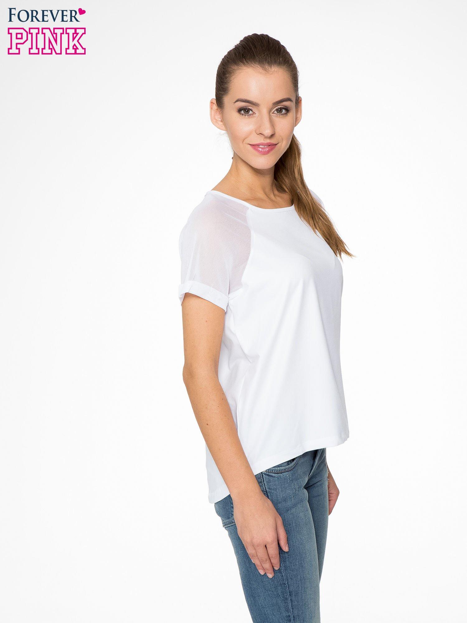 Biała bluzka z transparentnymi rękawkami                                  zdj.                                  3