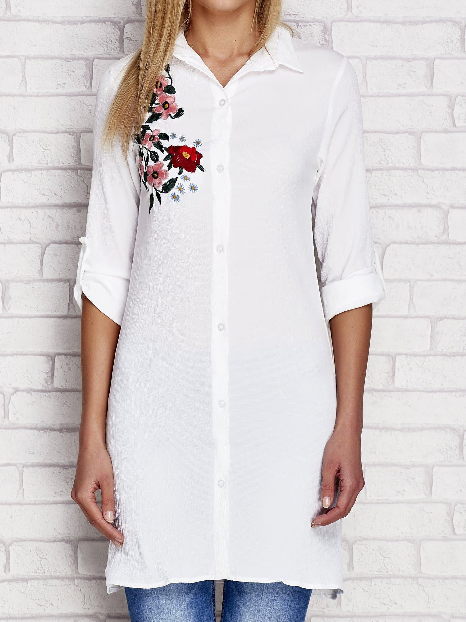 1f9a6e73 Biała długa koszula z haftem