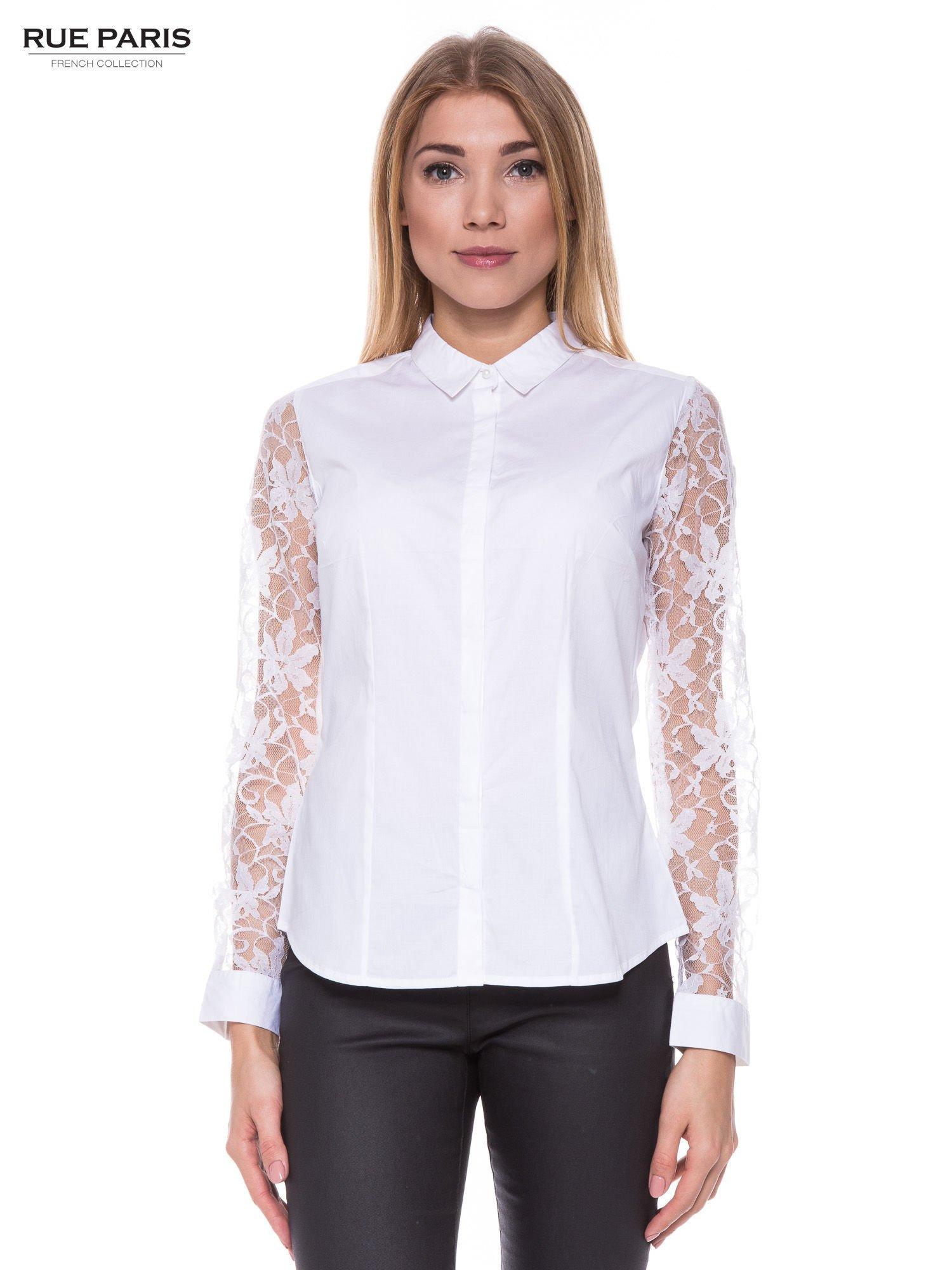 Biała elegancka koszula z koronkowymi rękawami                                  zdj.                                  1